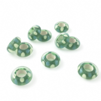 2 LAMPWORK 14X6MM GLASS BEADS 5mm HOLE  GREEN